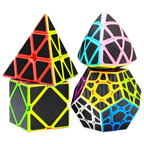 COOJA Speed Cube Set Pyraminx + Megaminx + Mastermorphix + Cubo Skewb, Especial Cubo Mágico Cubos Carbono Juguetes Raros Cosas para Cumpleaños Adulto