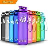 ZORRI Sportiva Bottiglia d'Acqua 600ml/800ml/1l Borraccia a Prova di perdite, Riutilizzabile Senza BPA Plastica Detox Bottiglie Acqua per Palestra,Yoga,Bambini