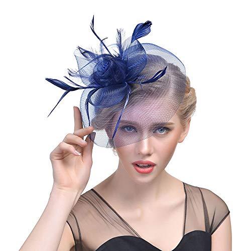 Fasching Kostüm Accessoires Damen Feder Fascinators Hut Blumen Netz Braut Kopfschmuck Haar Clip Hut Elegant Fascinator Haarreif für Hochzeit Cocktail Tee(Marine) (2019 Lustig Paar Kostüme)
