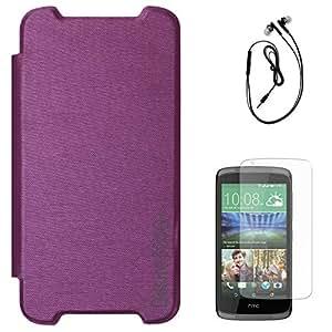 DMG PU Leather Flip Cover Case for HTC Desire 526 G+ (Purple) + Black Earphones + Matte Screen