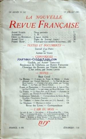 NOUVELLE REVUE FRANCAISE (LA) [No 266] du 01/11/1935
