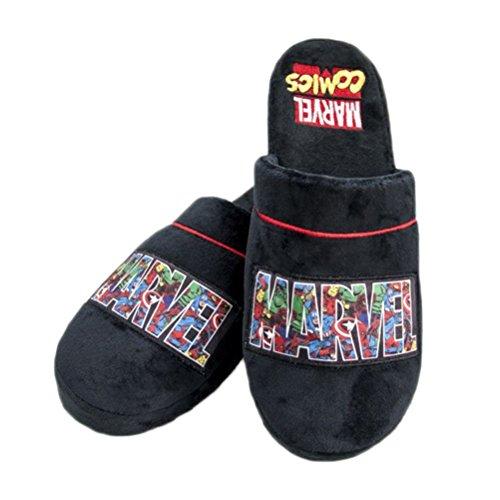 oficial-marvel-comics-logotipo-negro-mula-adultos-zapatillas-un-tamano