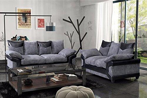 grande-nuovo-dino-jumbo-cord-fabric-faux-leather-panel-3-seater-sofa-2-seater-black-grey