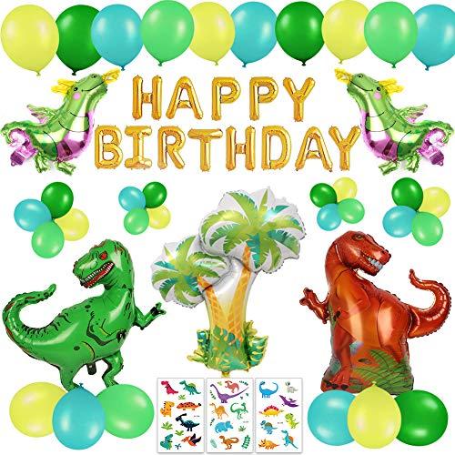 Happy Life 63 Stück Dinosaurier Geburtstag Deko Set für Kinder, Alles Gute Zum Geburtstag Girlande, Dino Luftballons - Dschungel Dinosaurier Party Dekoration für 1 2 3 4-12 Jahre Jungen