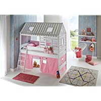 Preisvergleich für Relita Spielbett Toms Hütte und Bett Kim Buche massiv weiß lackiert. Textilset rosa/weiß/herz