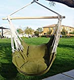 Ruipu Hammock Chair Hanging Rope Chair Porch Swing Outdoor Chairs Lounge Camp Seat At Patio Lawn Garden Backyard Army Green