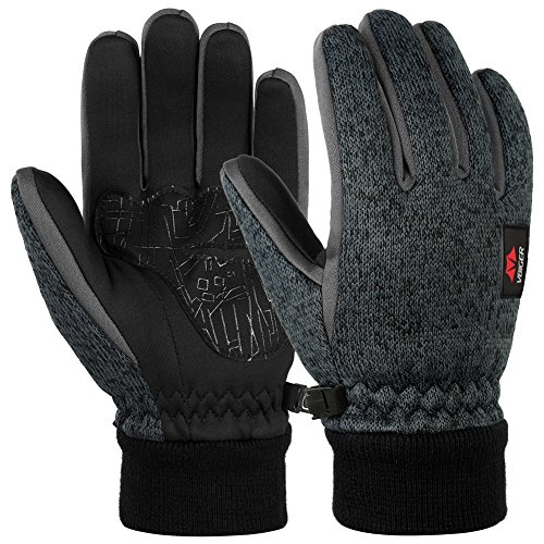 Vbiger Touchscreen Handschuhe Fleece Handschuhe Winterhandschuhe Warme Handschuhe Sporthandschuhe, Dunkelgrau, M