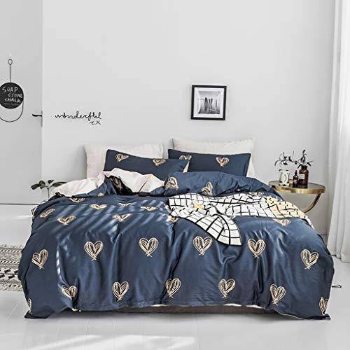 KEINE Tröster Gold Liebe Bettbezug Set Blau Tröster Quilt Bettwäsche Mit Reißverschluss 4 stücke Tagesdecke Bettdecke Geometrische Gitter Bettlaken 100% Baumwolle Bett Set Erwachsene Jugendliche Kinde -