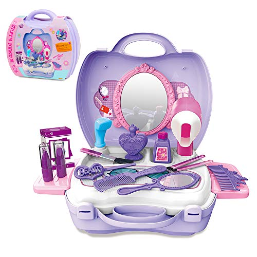 GizmoVine Maquillage Fille Enfants 2-4 Ans Jouets Kits De Coiffure Simulation Princesse Cosplay Outil en Plastique Playset Cosmétiques (Maquillage)