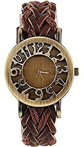 veens Anlogue Round Gold Dial Leather Brown Strap Casual Formal Womens Girls Wrist Watch DW1196