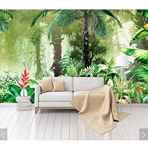 Grüne Blätter Tapeten, 3d Wandbilder Wallpaper für Schlafzimmer Home Wall Decor Floral bedruckte Fototapete Wandbild 280 cm (B) x 180 cm (H)