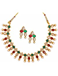 The Jewelbox Traditional Choker Red Green Kundan Gold Plated Necklace Earring Set For Women