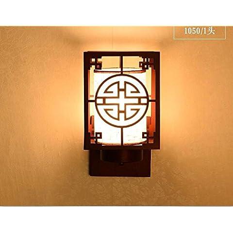 midtawer Nuovo cinese di luce a soffittoMinimalista ristorante rettangolare ferro luce soggiorno lampadeL'hotel è luminoso Cina vento luci a parete,Rosso antico spazzolato,E14*1Testa