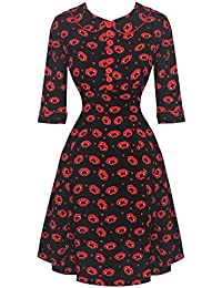 Hell Bunny Kiss Me Deadly Vampire Fangs Lips Print Retro Vintage Skater Dress Excellent Quality