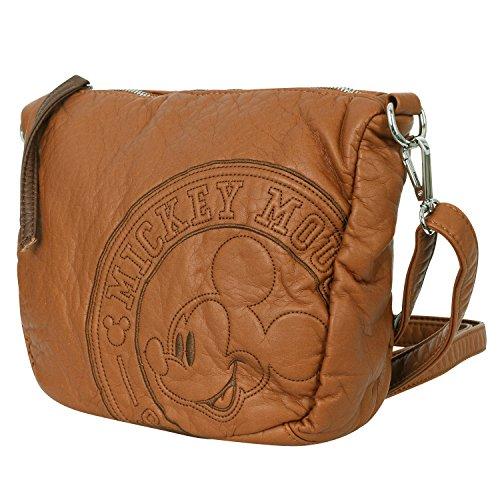 Disney klassischer Stil Mickey Maus Muster mehrfach Ziel Kreuz Körper Mini Schulter Tasche , Caramel (Hobo Leder Pocket Front)