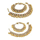 #7: The Luxor Gold Brass Combo of Anklets For Women