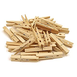 100PCS Natural Wooden Photo Clips, Large Clothespins Craft Pegs for Cloth Craft DIY