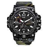 erencook Hombres 5ATM resistente al agua reloj de pulsera militar retroiluminación Alarma Cronógrafo reloj analógico Digital deporte electrónico multifunción