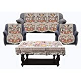 Kuber Industries Flower Cotton 7 Piece 5 Seater Sofa Cover with Center Table Cover (Brown)-CTKTC28730