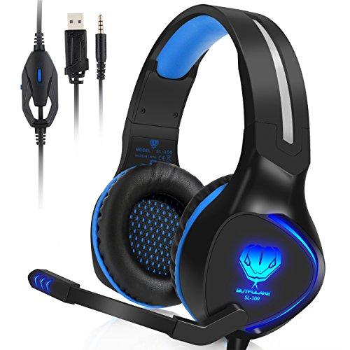 butfulake Stereo-Headset über Ohr Kopfhörer mit Noise Cancelling-Mikrofon für Laptop Smartphones und PC, PS4, Xbox One Blue-100