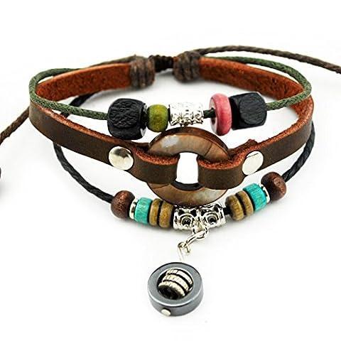 Plus de Fun Unique à roulettes et anneaux en métal Pendentif Multirang tissé Cuir tressé réglable Bracelet