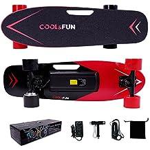 Cool & Fun Skateboard Eléctrico de 4 ruedas Monopatín con Control Remoto (Rojo)