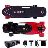 Cool&Fun Electrico Skateboard Elettrico Longboard con Telecomando Senza Fili (Rosso)