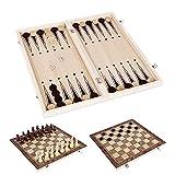Littlegrasseu Schach mit Schachbrett aus Holz, Schachspiel Holz 3 in 1 Einklappbar Deluxe Schach, Schachkassette Faltbar mit Aufbewahrungs