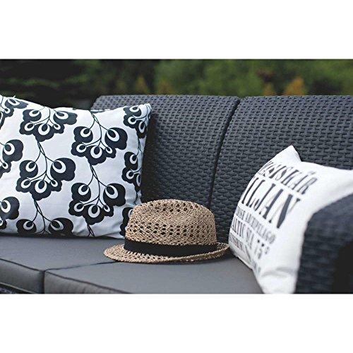 JUSTyou Corfu Sofa Couch Gartenbank Rattan 2-Sitzer Sofa Weiß Aschgrau - 3