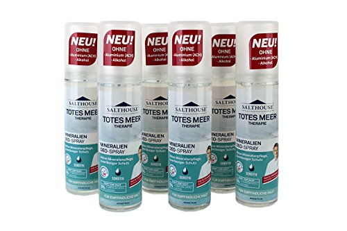 Salthouse Totes Meer Therapie Mineralien Deo-Spray, 75ml, Menge:6er Pack