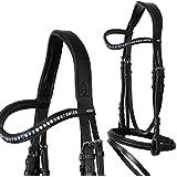 heinick de hípica ~ Comfort–Bocado inglés Combina Aqua ~ Equestrian–Brida mediasangre, purasangre, negro