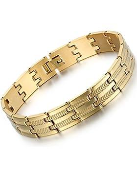 Oidea Herren Armband, Charm Schlange Knochen Muster Biker Breit Armreif Armschmuck Handgelenk, Edelstahl, Gold