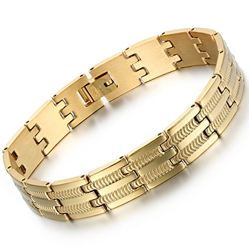 Oidea Herren Armband, Charm Schlange Knochen Muster Biker Breit Armreif Armschmuck Handgelenk, Edelstahl, Gold (Gold Schlange Armband)