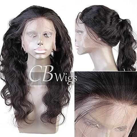 Cbwigs brésilien Remy Body Wave 360Dentelle Band frontal Pre-plucked complète Dentelle frontale Fermeture Band avec Naturel Hairline et cheveux de bébé pour African American Femme Densité de 130% Couleur naturelle