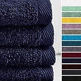 Lumaland Premium 4er Set Handtücher 50 x 100 cm aus 100% Baumwolle 500 g/m² mit Aufhänger Navy blau