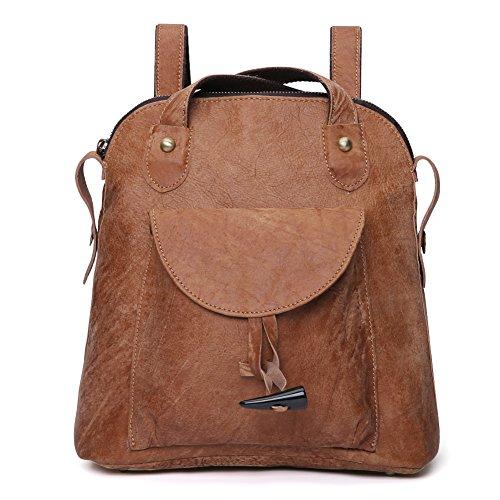7b09964b38dfd Damen Retro Leder Vintage Rucksack Tasche 2 in 1 Lederrucksack Ledertasche  Lederrucksack Damen Schultertasche Leder Rucksack