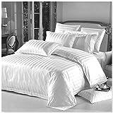 AR Textiles Bettwäsche-Set, aus 100 % ägyptischer Baumwolle, Satin, gestreift, in Weiss und Creme., weiß, Einzelbett