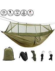 Camping Hamac avec moustiquaire de jardin à suspendre en nylon Lit Swing Fucnen léger haute résistance Parachute Hamac avec Bugnet pour Voyager de survie Relax randonnée randonnée Backyard Capacité de 199,6kilogram
