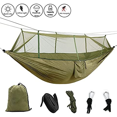 Outdoor Camping Hammock with Mosquito Net Garden Hanging Nylon Bed Swing FUCNEN Lightweight High Strength Parachute Hammock with Bugnet for Travel Survival Relax Hiking Backpacking Backyard 440lbs Capacity