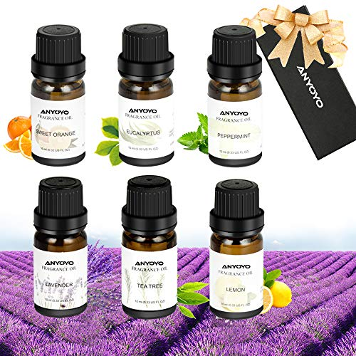 ANYOYO Essential Oils Therapeutic Aromatherapy Essential Oil Peppermint,Tea Tree,Sweet Orange,Lemon,Lavender,Eucalyptus Best Gift Set for Her Women Mother's Day (6 x 10ml)