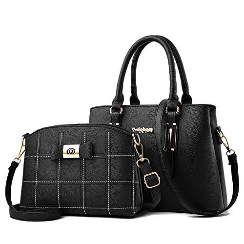 Umhängetasche - Europäische Und Amerikanische Mode Damen Big Bag One Shoulder Handtasche Schwarz (Bestickte Linie Mutter Paket)