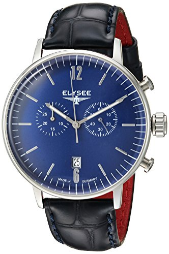 ELYSEE Men's Stentor 42mm Black Leather Band Steel Case Quartz Blue Dial Analog Watch 13295