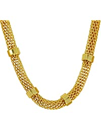 DzineTrendz Gold Covered Brass 6mm Hollow Italian Stylish Fashion Chain Necklace For Men Women Girls