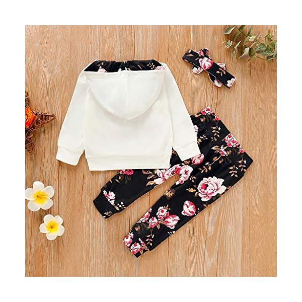 Vectry Ropa para Disfraz Conjunto Infantil Bebé Niñas Sudadera con Capucha Y Impresión Floral Camiseta Tops + Pantalones… 4
