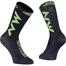 Northwave Juego de 3 Calcetines de Ciclismo para Hombre, Color Negro y Verde