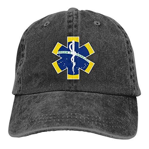 Ingpopol Men Women Adjustable Cotton Denim Baseball Caps Brazil Flag EMS EMT Snapback Cap -