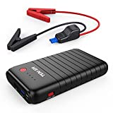 TENKER 500A 10800mAh Tragbare Auto Starthilfe Autobatterie Anlasser, Externer Akku Ladegerät mit Dual USB Ausgänge (Ein QC3.0 und Ein 5V/2.1A), Typ C Anschluss und LED Taschenlampe