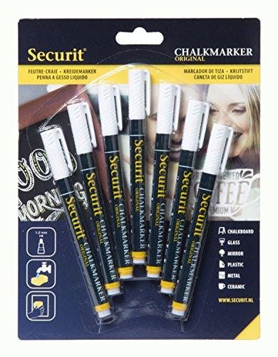 Securit - Penna a gesso liquido, punta rotonda, colori diversi, 1/2 mm, 7 pezzi 1-2 mm con punta arrotondata bianco