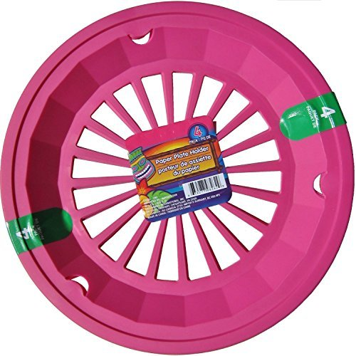 Hot Pink 10-3/8 Plastic Paper Plate Holders, Set of 4 by Greenbrier