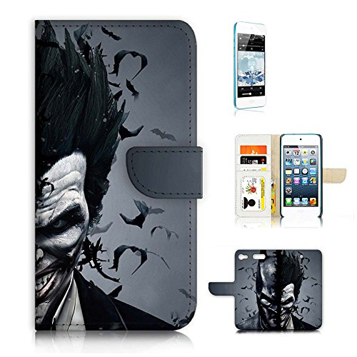 (für iPod Touch 6/iTouch 6) Wallet Case Cover & Displayschutzfolie Bundle. A9502Batman & Joker Super Hero